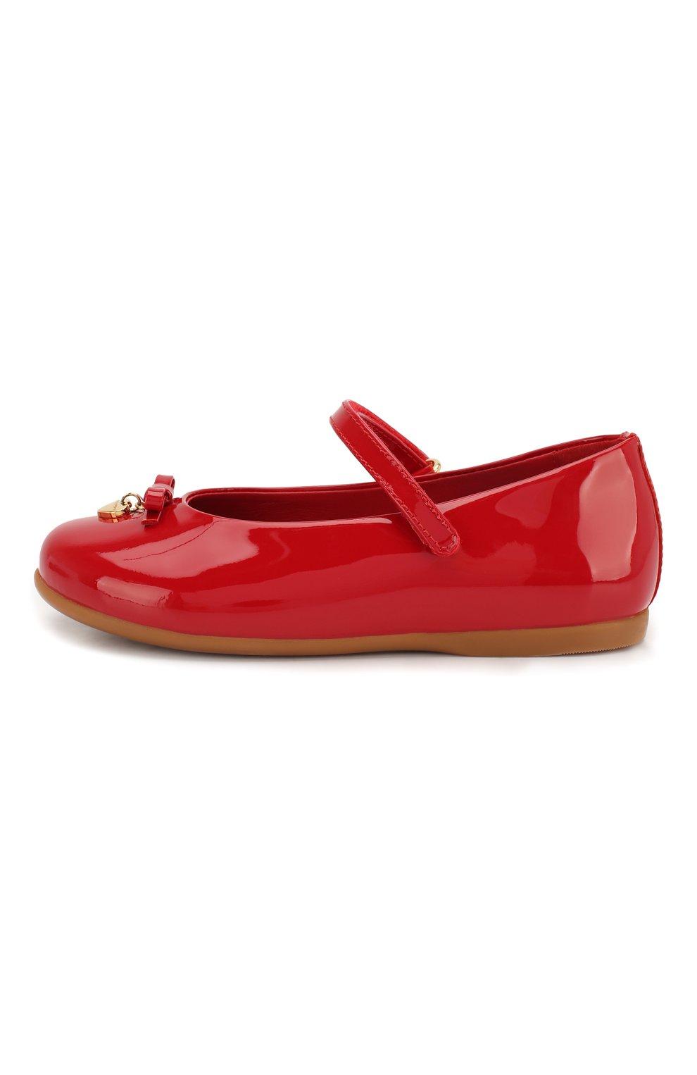Детские лаковые балетки с застежкой велькро DOLCE & GABBANA красного цвета, арт. D20057/A1328/19-28   Фото 2
