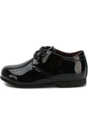 Детские лаковые дерби на шнуровке DOLCE & GABBANA черного цвета, арт. DL0029/A1328/19-28 | Фото 2 (Мальчики Кросс-КТ: дерби; Статус проверки: Проверена категория; Случай: Вечерний)
