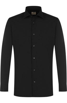 Хлопковая сорочка с воротником кент Luigi Borrelli черная | Фото №1