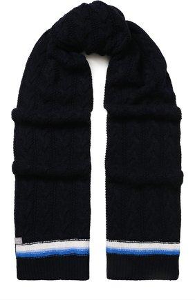 Кашемировый шарф фактурной вязки FTC темно-синий   Фото №1