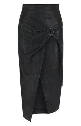 Кожаная юбка-миди с запахом | Фото №1