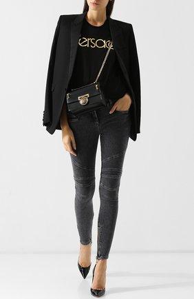 Женские джинсы-скинни с потертостями BALMAIN темно-серого цвета, арт. 145497/148K | Фото 2