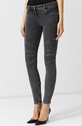 Женские джинсы-скинни с потертостями BALMAIN темно-серого цвета, арт. 145497/148K | Фото 3