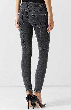 Женские джинсы-скинни с потертостями BALMAIN темно-серого цвета, арт. 145497/148K | Фото 4