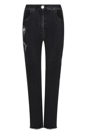 Женские джинсы с потертостями и бахромой BALMAIN темно-серого цвета, арт. 145496/148K | Фото 1