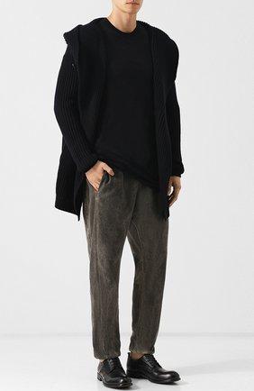 Кожаные дерби с круглым мысом Moma черные | Фото №1