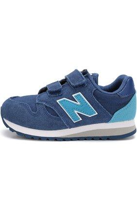 Детские замшевые кроссовки new balance 520 с застежками велькро New Balance темно-синего цвета | Фото №1