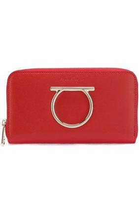 Кожаный кошелек на молнии Salvatore Ferragamo черного цвета | Фото №1