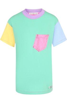 Хлопковая футболка с круглым вырезом и накладным карманом Golden Goose Deluxe Brand разноцветная | Фото №1