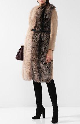 Меховое пальто с поясом Blancha бежевая | Фото №1