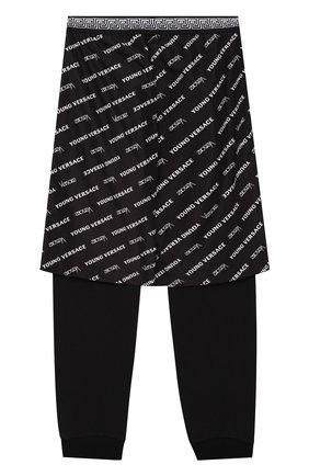Хлопковые джоггеры с декоративной отделкой Young Versace черного цвета | Фото №1