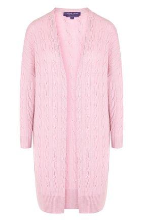 Женский однотонный кашемировый кардиган фактурной вязки RALPH LAUREN розового цвета, арт. 290615165 | Фото 1