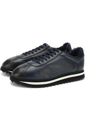 Кожаные кроссовки на шнуровке с внутренней меховой отделкой  Doucal's темно-синие | Фото №1