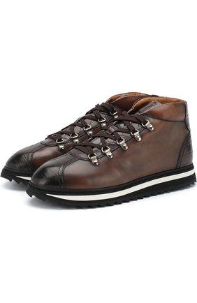 Кожаные ботинки на шнуровке Doucal's темно-коричневые | Фото №1