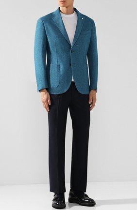 Однобортный пиджак из смеси шерсти и хлопка L.B.M. 1911 бирюзовый | Фото №1