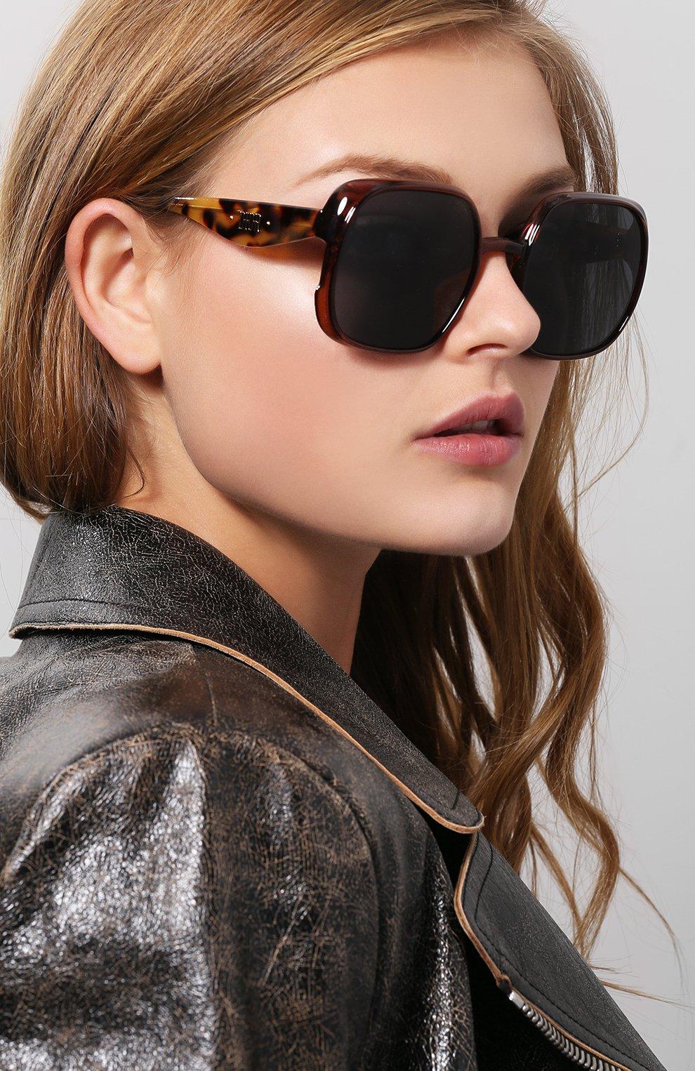 Женские солнцезащитные очки DIOR коричневого цвета, арт. DI0RNUANCE 09Q   Фото 2