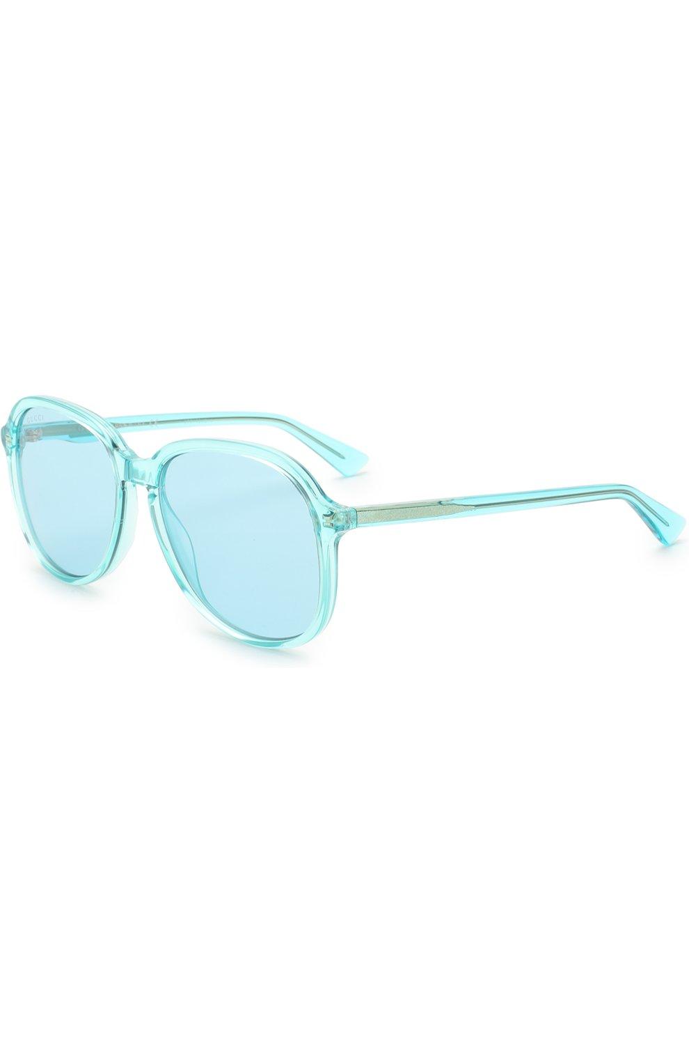 Женские солнцезащитные очки GUCCI голубого цвета, арт. GG0259 001 | Фото 1