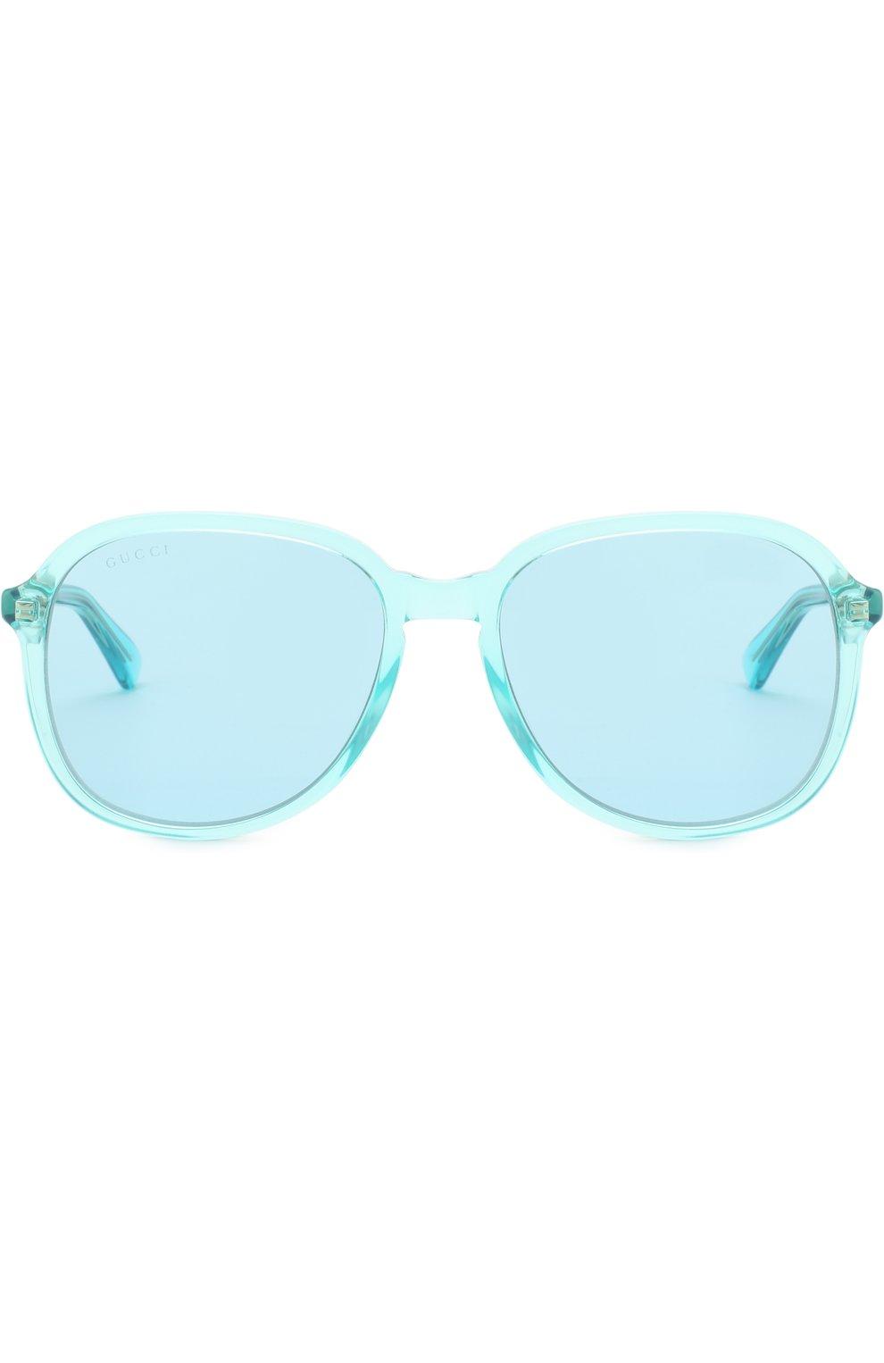 Женские солнцезащитные очки GUCCI голубого цвета, арт. GG0259 001 | Фото 3
