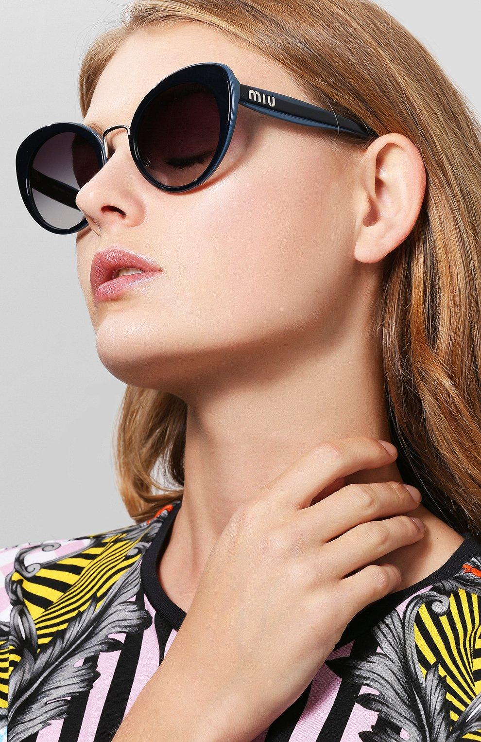 Солнцезащитные очки Miu Miu темно-синие | Фото №2
