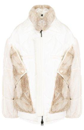 Шелковая куртка с меховой отделкой Tom Ford белая   Фото №1