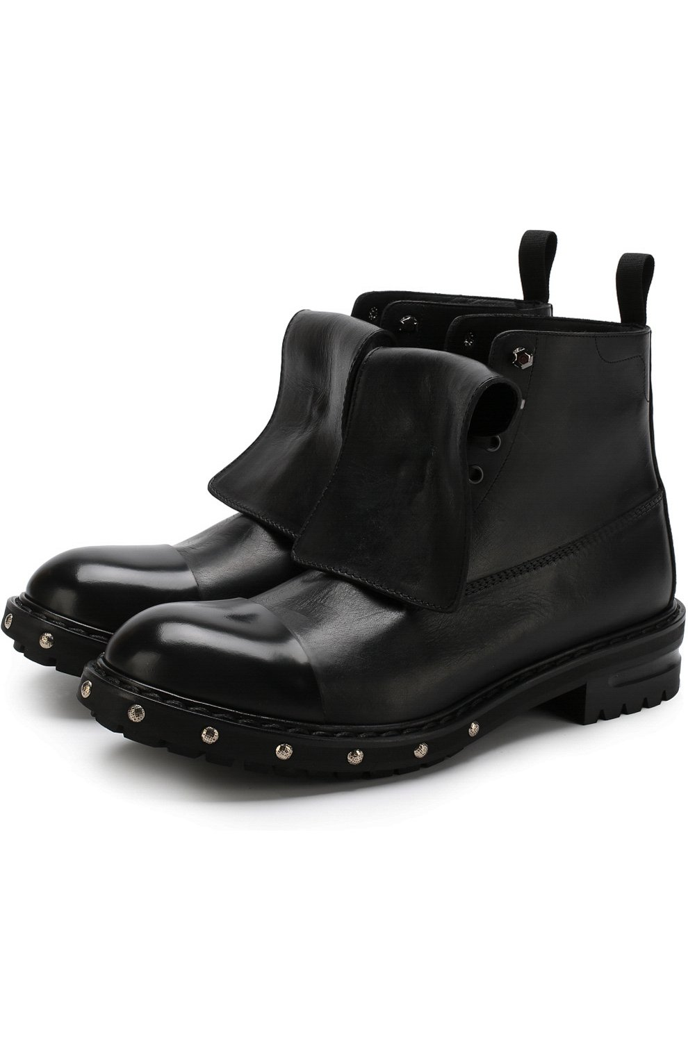 Высокие кожаные ботинки с отделкой   Фото №1