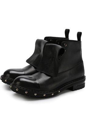 Высокие кожаные ботинки с отделкой | Фото №1