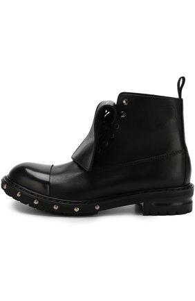 Высокие кожаные ботинки с отделкой   Фото №3