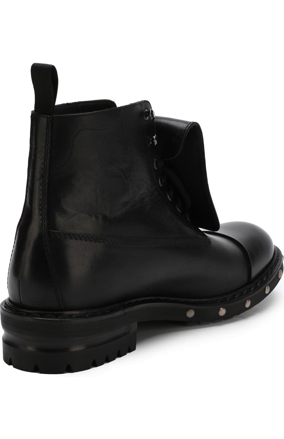 Высокие кожаные ботинки с отделкой   Фото №4