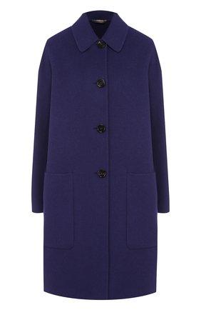 Однотонное кашемировое пальто с накладными карманами | Фото №1