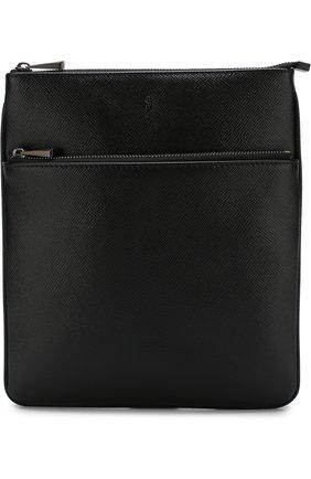 Кожаная сумка-планшет с внешним карманом на молнии | Фото №1