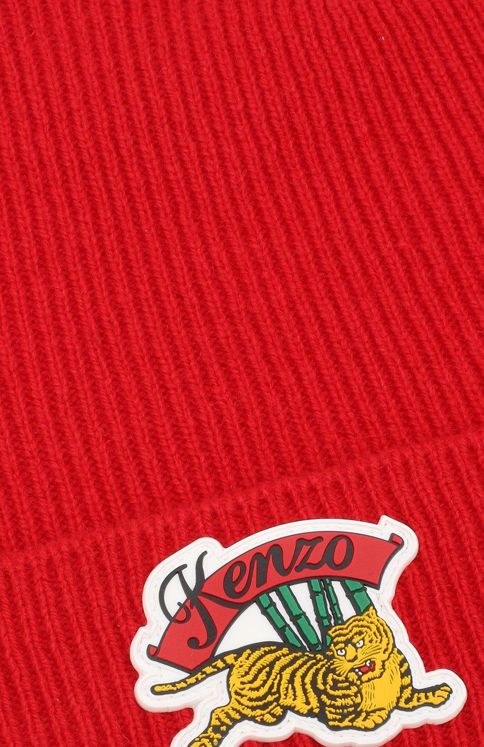 Шерстяная шапка с нашивкой Kenzo красного цвета | Фото №3