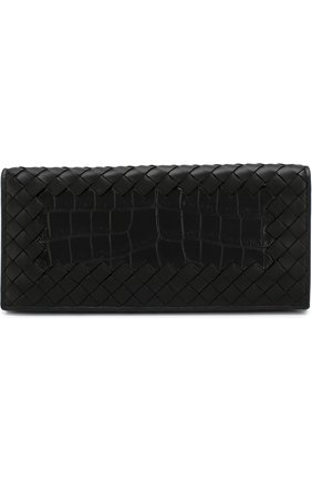 Мужской портмоне из кожи крокодила с плетением intrecciato BOTTEGA VENETA черного цвета, арт. 120697/V00A5 | Фото 1