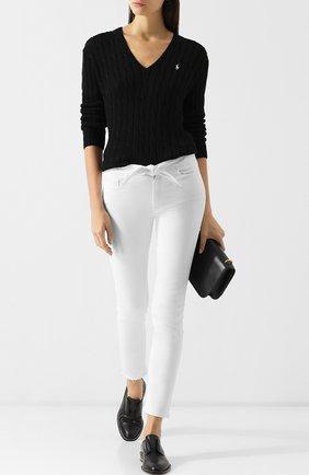 Вязаный хлопковый пуловер с V-образным вырезом  Polo Ralph Lauren черный | Фото №1