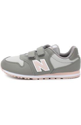 Детские кроссовки 500 с контрастной отделкой и застежками велькро New Balance светло-серого цвета | Фото №1