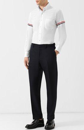 Хлопковая рубашка с воротником button down Thom Browne белая | Фото №1