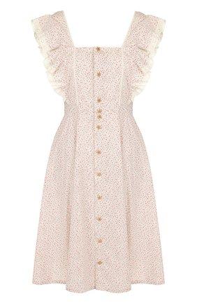 Приталенное хлопковое платье с оборками и принтом Polo Ralph Lauren разноцветное | Фото №1