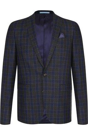 Однобортный шерстяной пиджак Sand темно-синий | Фото №1