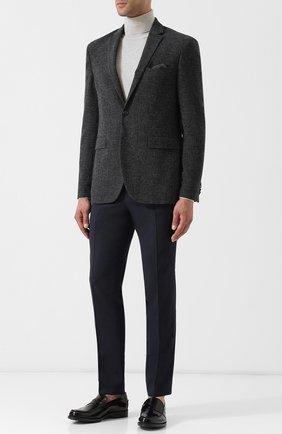 Однобортный пиджак из смеси шерсти и хлопка Sand темно-серый | Фото №1