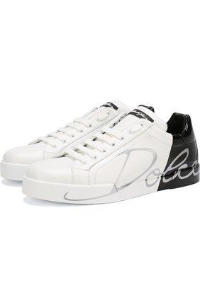 Мужские кожаные кеды portofino DOLCE & GABBANA белого цвета, арт. CS1600/AI053 | Фото 1