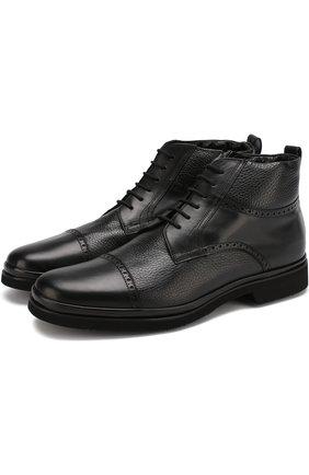 Кожаные ботинки с брогированием Aldo Brue черные | Фото №1