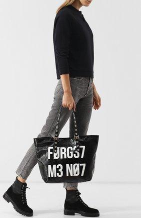 Сумка-шоппер с принтом REDVALENTINO черная цвета | Фото №1