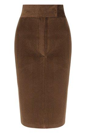 Однотонная юбка-карандаш из хлопка | Фото №1