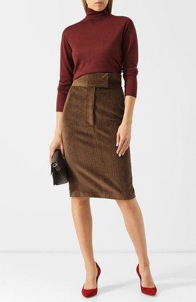 Однотонная юбка-карандаш из хлопка | Фото №2