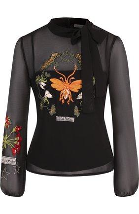 Женская полупрозрачная блуза с декоративной вышивкой и воротником аскот REDVALENTINO, цвет разноцветный, арт. QR3AB02Z/3UD в ЦУМ | Фото №1