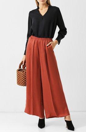 Женская однотонная блуза с v-образным вырезом Forte_forte, цвет черный, арт. 5729 в ЦУМ   Фото №1
