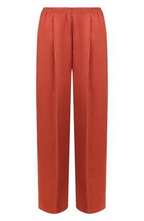 Однотонные брюки свободного кроя с эластичным поясом Forte_forte лиловые   Фото №1