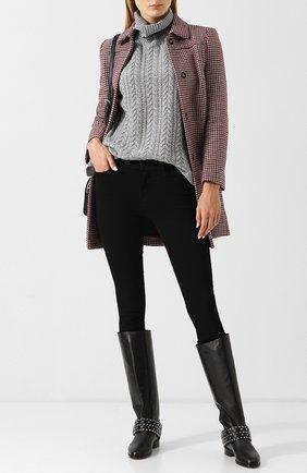 Вязаный кашемировый пуловер с воротником-стойкой FTC серый   Фото №1