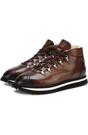 Кожаные ботинки на шнуровке с внутренней меховой отделкой Doucal's коричневые | Фото №1