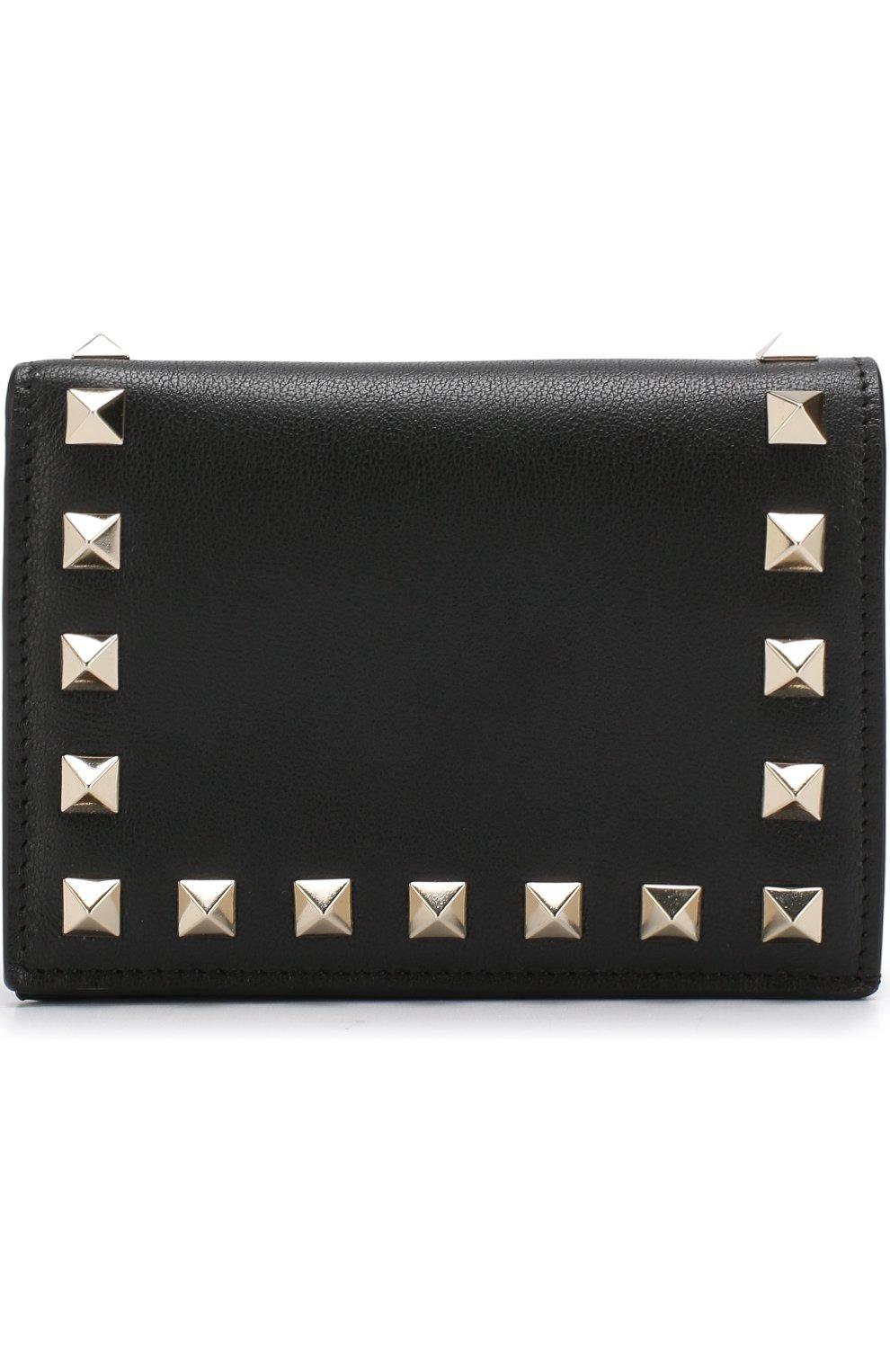 Кожаный кошелек Valentino Garavani Rockstud Valentino черного цвета | Фото №1