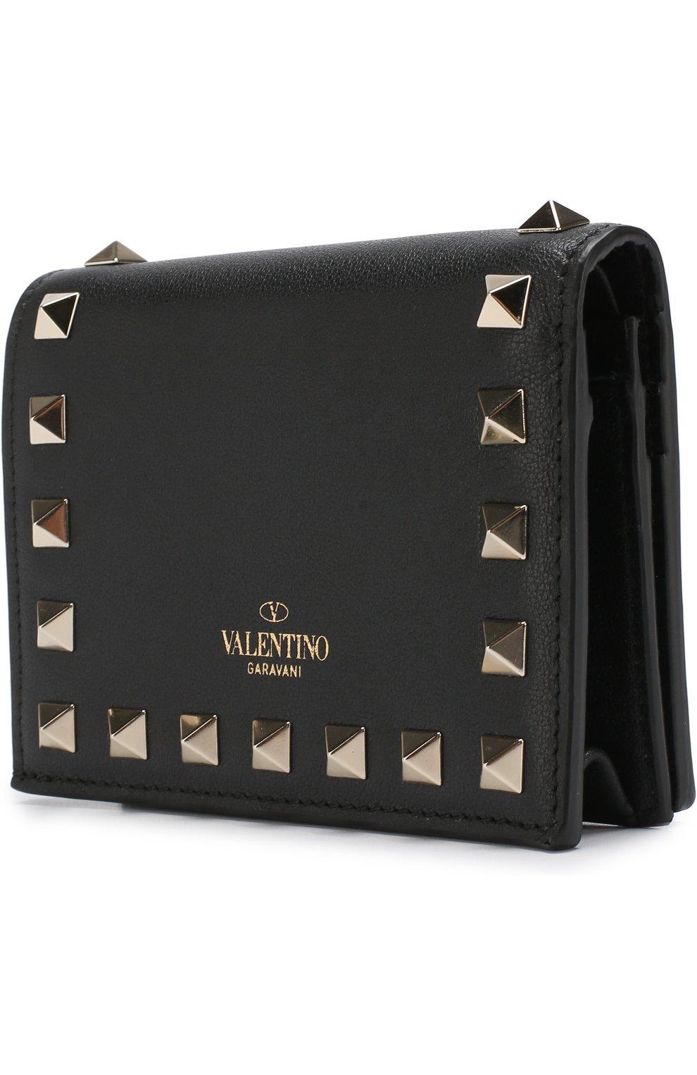 Кожаный кошелек Valentino Garavani Rockstud Valentino черного цвета | Фото №2